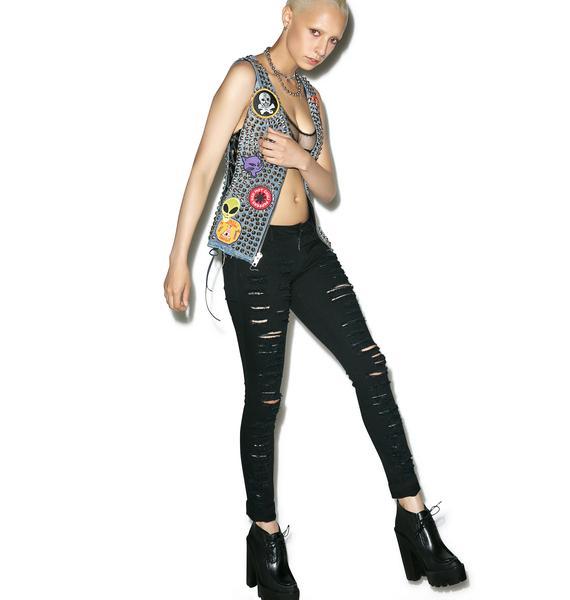 Punk Rave Lunatic Destroyed Skinny Jeans