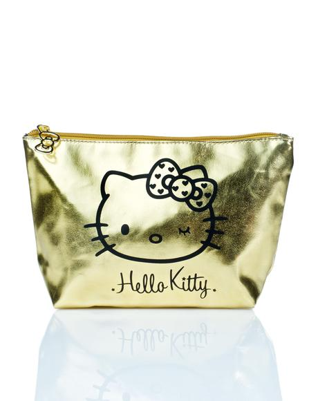 Golden Hello Kitty Makeup Pouch