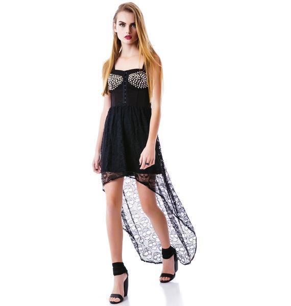 Screaming Skull Studded Hi Low Dress