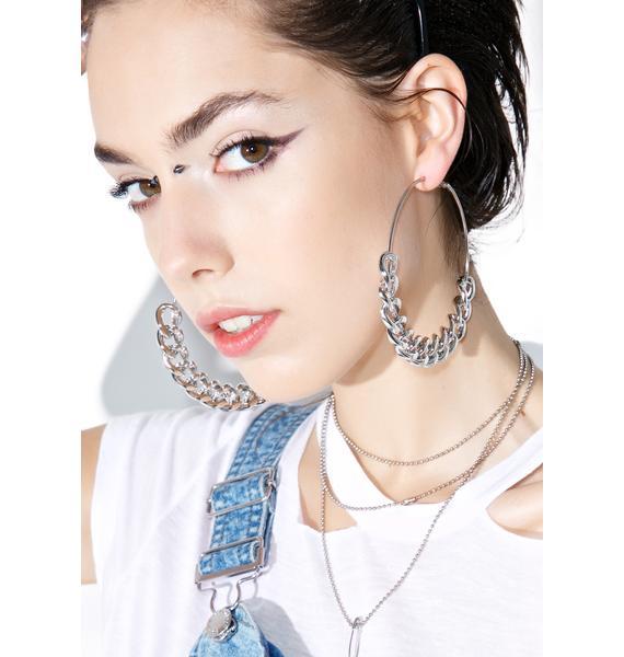 Silver Chain Gang Earrings