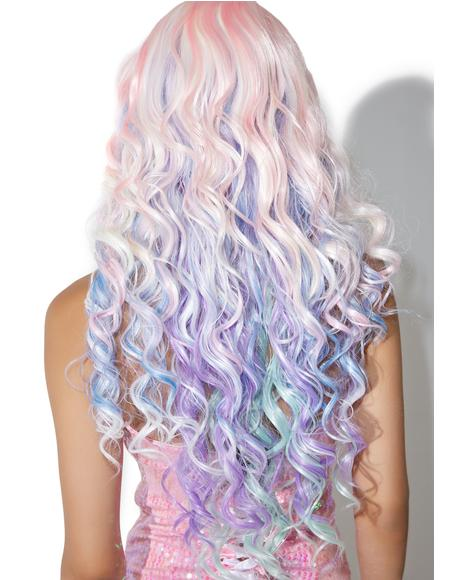Rainbow Rock Curly Wig