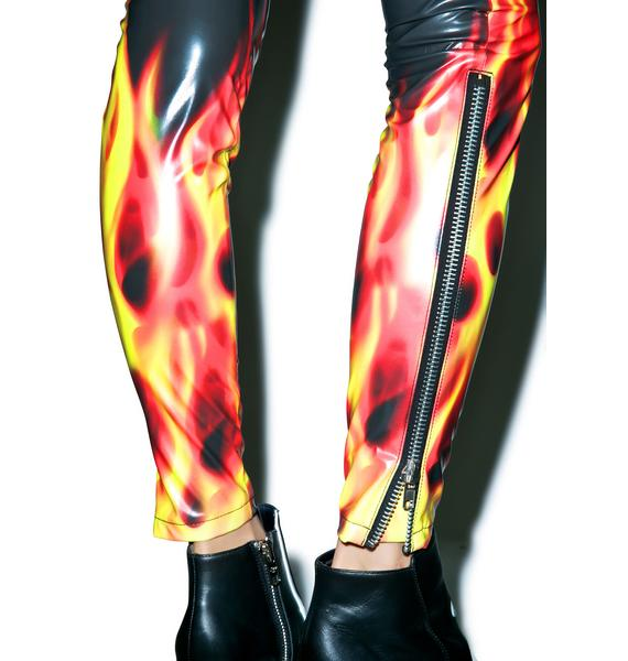 24HRS X Dolls Kill Flamin' Hot Moto Pants