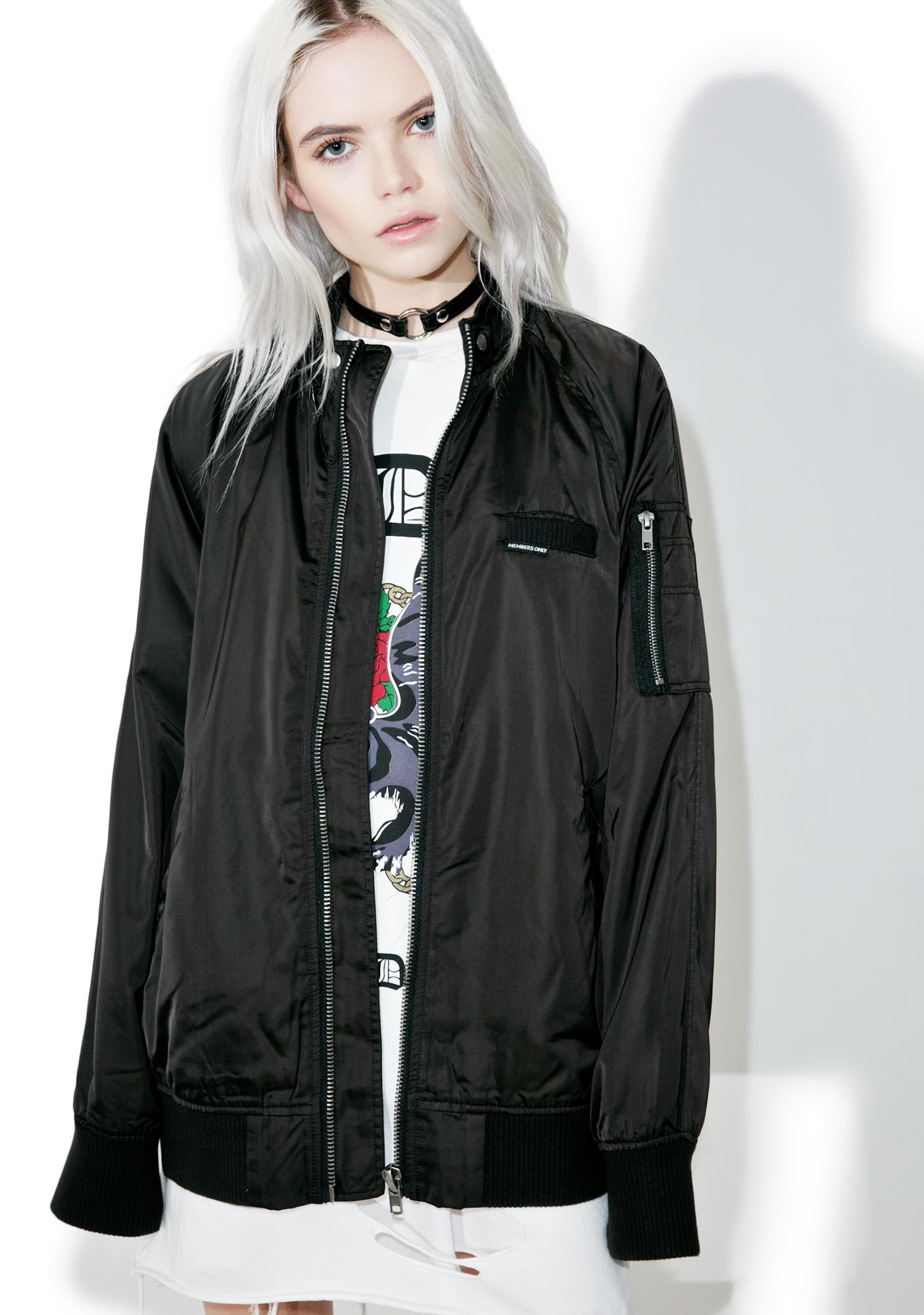 Members Only Washed Satin Boyfriend Jacket