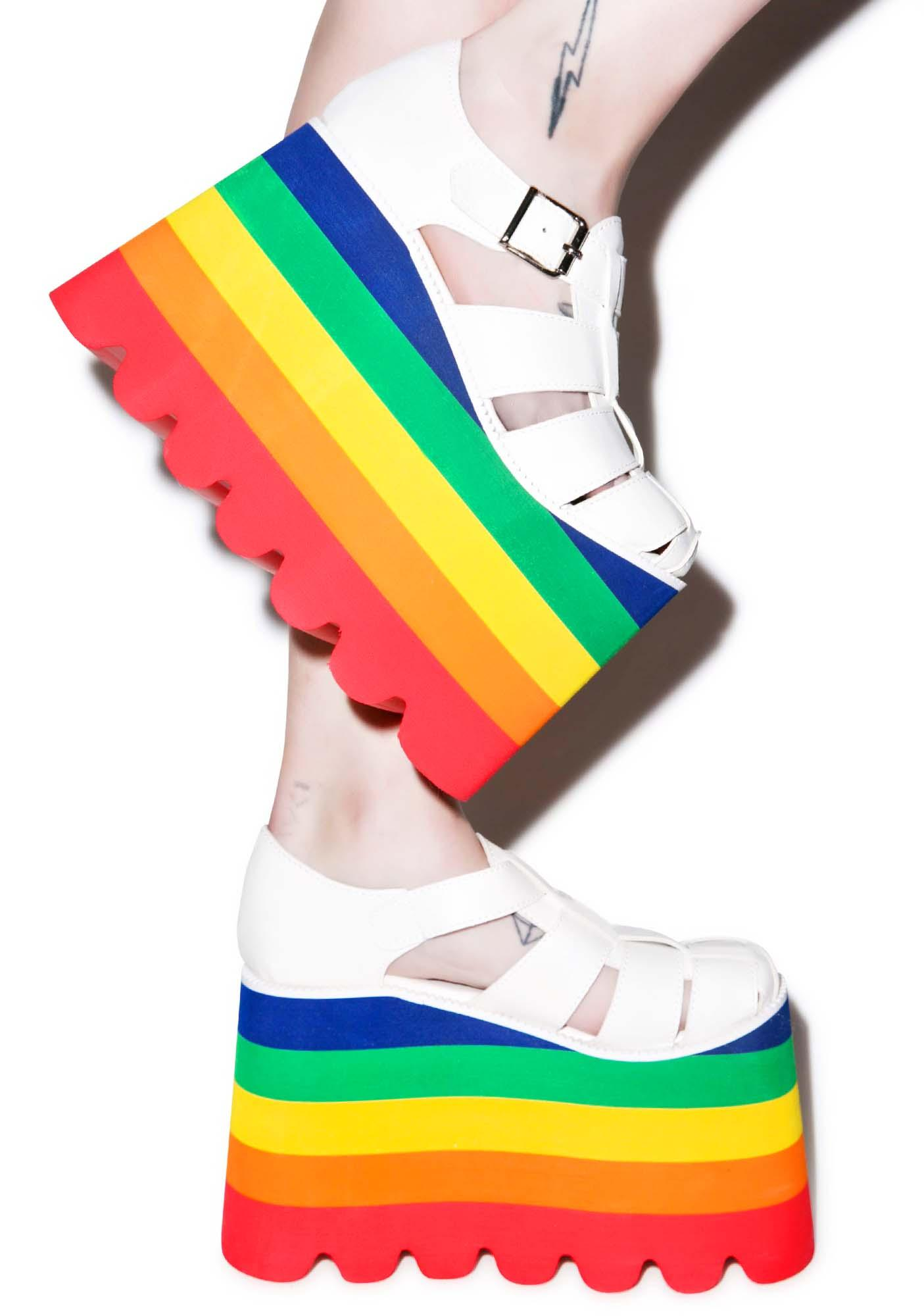Current Mood Double Rainbow Skylar Sandals Dolls Kill