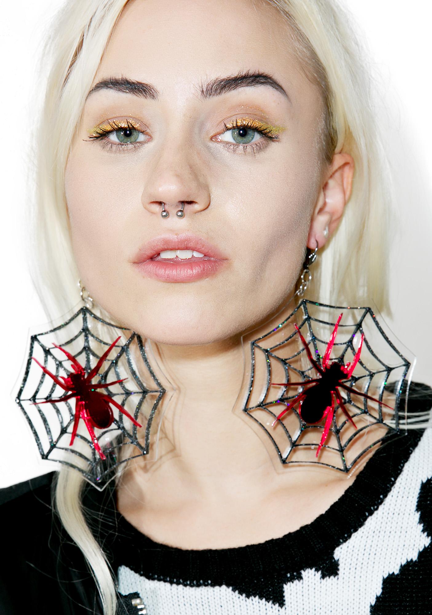 Marina Fini Cobweb Earrings